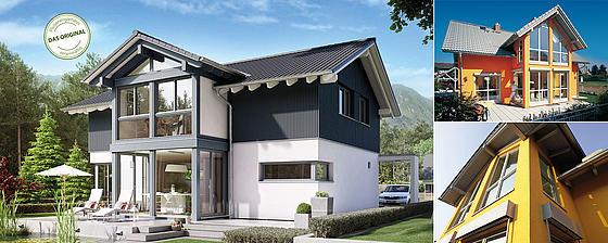 Haus mit einem Satteldach und einem Schicken dritten Giebel