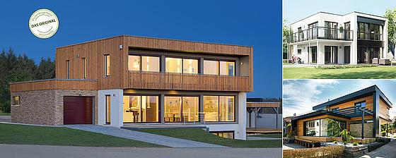 Haus mit Pultdach oder Flachdach, Haus mit 2 Vollgeschoßen
